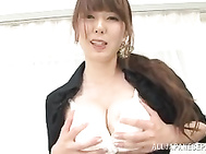 Stunning Japanese milf Yui Hatano loves posing her sexy pussy through those naughty pantyhose during one nasty and crazy solo masturbation scene.
