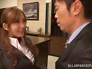 Gorgeous office babe Rin Sakuragi sucks her boss for his sperm.