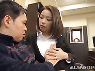 Short-haired Japanese office lady Riko Honda has excellent sex.