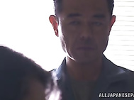 Amazing Asian milf gets screwed by a burglar in the office.