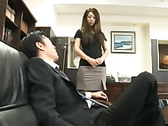 Sexy Asian secretary Mai Yuzuki rubbing her cunt and teasing her boss in the office. 2