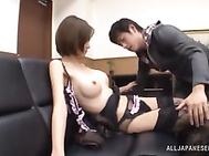 Lusty Japanese office chick Akari Asahina has a visitor in her office, and she gives the guys some extra services that he hadn´t expected.