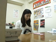 Little fatty Japanese office girl fucked by her boss in semi-doggy style.