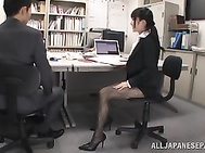 Skinny office girl with beautiful legs Arisa Misato rides hard boner.
