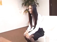 This long haired sexy Asian office lady is interviewing for a job.