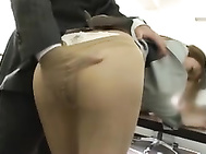 She is in the office, and showing off her nice ass in upskirt shots before getting her pantyhose ripped for pussy access! She inserts her guyᄡs cock in her mouth before the CFNM sex starts and she gets a rear fucking and a cock ride in the office! She end