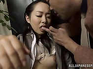 Nice looking Japanese milf Nao Ogawa gets tempted in her office by a hot guy and enjoys pussy teasing.