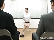 Milf with big tits Kaede Niiyama fondled by her boss and his partners.