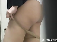 Perverted and extremely horny Japanese office chick comes to a toilet and discovers a couple shagging over there, so she decides to have some fun as well, starting from CFNM sex and making adorable and breathtaking blowjob to the guy and he fucks her real