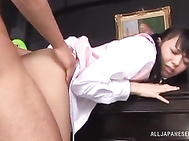She gets a hot foot licking in the process, and getting a hard rear pounding in the end!.