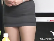 She likes being seduced by a horny guy from her office and spreads her legs willingly in front of him.