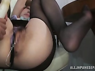There is no single doubt that our filthy and naughty stewardess in sexy pantyhose is gonna reach her wildest orgasm soon, because she is using her dildo with agility.