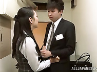 Alluring office lady Nao Ogawa gives head and licks balls.