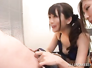 Sexy Japanese flight attendant Yuna Shiina loves to share her captain´s big cock in amazing threesome sex scene that makes them all to feel intense pleasure and have some nasty scenes, undulating and sucking like real porn stars.