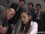 Sugary office babe Minori Hatsune gets screwed by a group of dudes.