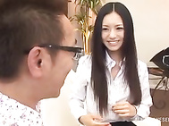 Sexy Asian office lady, Aino Kishi with adorable lean body and long legs has sex with her horny male colleague and gets her body licked and fondled.