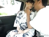 Milky white JP MILF Ki Hanyuu gets banged hard in and out of a car.