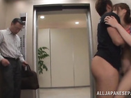 finally, Asian milf removes her undies and gets ravaged in one crazy elevator hardcore fuck and gets cumshot!.