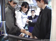 Young and pretty Japanese schoolgirl Nana Nanaumi gets seduced by a group of extra horny dudes in a public place.