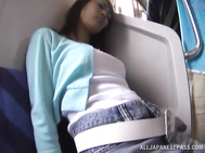 Hot Japanese MILF gets jizzed on in a public transport.