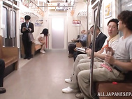 Innocent looking Asian milf Aoi Nagase enjoys sex in a public place.