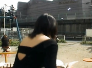 Kinky and cute Asian chick is masturbating in public.