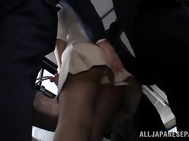 Kinky Japanese milf Nami Hoshino gets pounded in a bus.