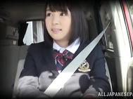 Pretty Asian teen in school uniform is fucked in the bus.