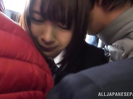 Lovely Japanese AV gal in school uniform gets teased by horny boys in a public place.