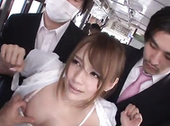 She is on the subway and the guy in back f her makes her horny by rubbing on her.