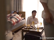 Gorgeous Tokyo housewife Kyouka Miyabe has sex with a group of guys.