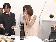 Sexy Asian milf Aino Kishi is in a gangbang playing with toys.