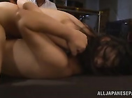 Arousing Japanese babe Ria Murakami loves having her pussy pounded by two males in naughty Asian hardcore threesome scene which makes her enjoy true pleasure along with feeling her tight holes pounded hard.