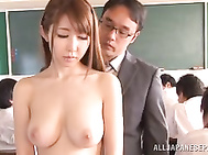Fantastic Asian schoolgirl Azumi Kinoshita banged by a group of guys.