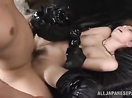 Adorable Japanese bombshells in sexy leather outfit arrange a nasty gangbang action with their horny lovers.