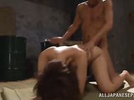 Impressive Japanese AV Model with small perky tits and a lovely wet cunt gets banged and nailed hard by two horny studs eager to hear her scream and feel her cunt getting wet by their hard group fucking scene.