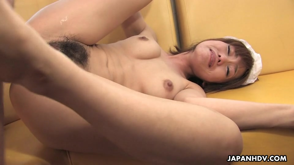 Yui Shimizu comes and greets them after seeing how cute she is they put her on top of the table and get her naked while stretching her slit wide open and making her moan with plastic toys.