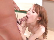 They knew they had some time to kill, so this japanese av girl grabbed a hold of his dick and gave him the idea to fuck her silly! He banged her deep and came on her face.