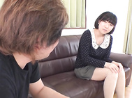 Japanese av model having her shaved ass fucked hard.