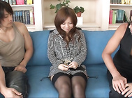 Konatsu Aozona in sexy stockings has group sex.