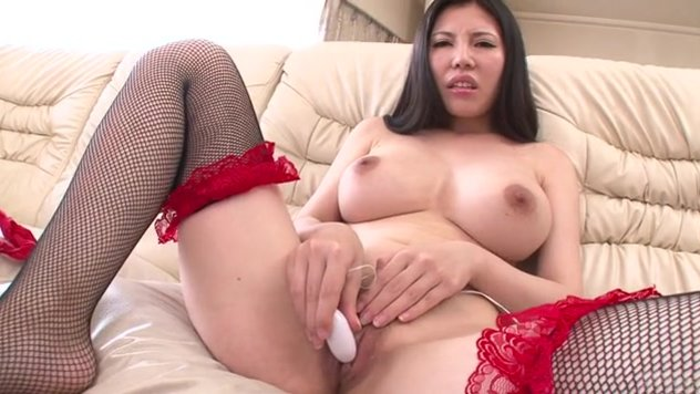 Sofia Takigawa is a hot brunette Japanese model in black Asian stockings, ready to provide a steamy show by masturbating in really nasty manners.