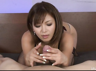 Busty MILF Mai Kuroki Teasing Cock In Her Thigh Highs.