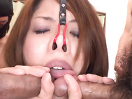 Kinky big tits babe Rika Minamino takes on all cummers.