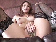 Japanese babe with big tits and hairy pussy, Riina Fujimoto, is about to meet this guy's large dick in each of her holes during steamy Asian hardcore action.