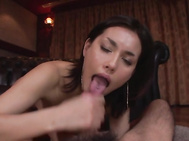 She knows amazing skills in throating and stroking, dealing both cocks like a true goddess during a mind blowjob Japanese threesome.