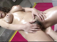 The only thing in this world to make Ren Mizumori's huge asian tits look that much better? To have them covered in oil, of course! Look how they shine as she holds onto them while her tight pussy is being fucked! He forgets to pull out and gives her a cre