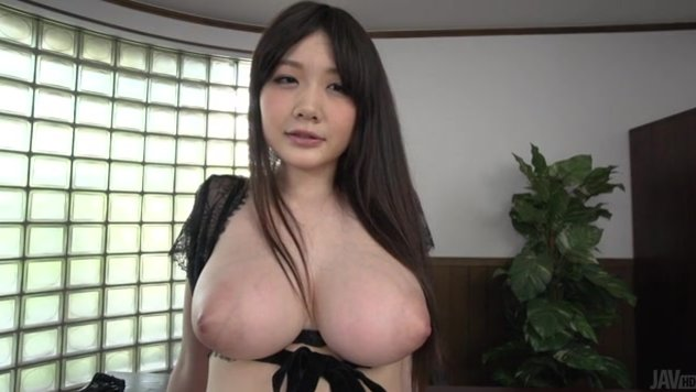 Huge tits Japanese office lady, Rie Tachikawa, is horny and very aroused by thse two hunks, both their cocks looking quite tasty and more than perfect for her dirty needs.