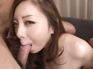 Curvy ass Japanese babe in sexy pantyhose, Maki Mizusawa, is surrounded by horny studs, all needy to play with her creamy pussy and slide their dicks into her throat.