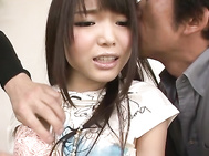 Two Guys Give Megumi Shino Double Penetration.