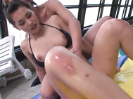 Insolent beauty with curvy lines, Maria Ozawa, is about to have a big load splashing hard on her hairy Asian pussy.